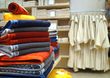 Towels and robes in store Royalty Free Stock Photography