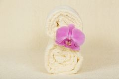 The towels roll decorated orchid Royalty Free Stock Photo