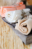 Towels rolled into tubes Royalty Free Stock Photography