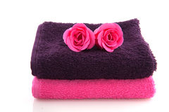 Towels and roses Royalty Free Stock Images