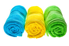 Towels row isolated Royalty Free Stock Images