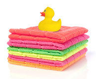 Towels and rubber duck Royalty Free Stock Images