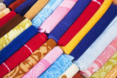 Towels for Sale at Market, Nepal Stock Photos