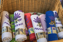 Towels for sale at a tourist shop in Avignon royalty free stock images
