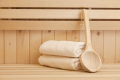 Towels in sauna Stock Images