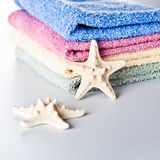 Towels and sea star Royalty Free Stock Image