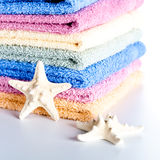 Towels and sea stars Stock Photography