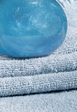 Towels and shampoo Royalty Free Stock Images
