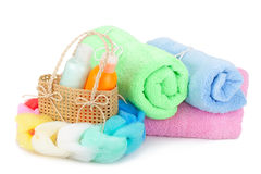 Towels and shampoo Royalty Free Stock Photography