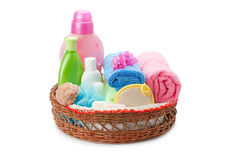 Towels and shampoo Royalty Free Stock Image