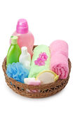 Towels and shampoo Royalty Free Stock Photos