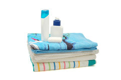 Towels, shampoo and soap Royalty Free Stock Photography