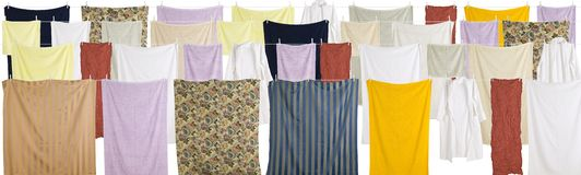 Towels and sheets hung out to dry Royalty Free Stock Images