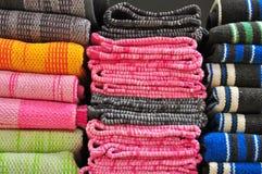 Towels in shelf Stock Photo