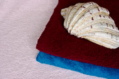 Towels and shell. Pink,blue and red bathroom towels and a shell Stock Photo