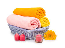 Towels, shell, candles and flower Stock Photo