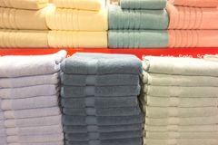 Towels on shelves Royalty Free Stock Photos
