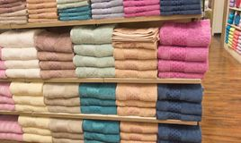 Towels on shelves Royalty Free Stock Image