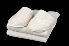 Towels and slippers Royalty Free Stock Images