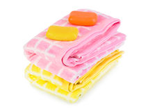 Towels and soap Royalty Free Stock Photography