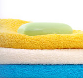 Towels and soap. Royalty Free Stock Images
