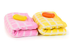 Towels and soap Stock Photos