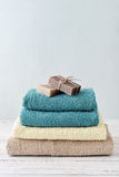 Towels with soap bars Stock Photo
