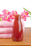 Towels and soap bottle Stock Photo