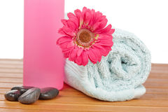 Towels and soap bottle Stock Images