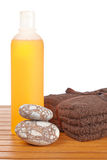 Towels and soap bottle Royalty Free Stock Photo