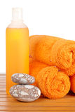 Towels and soap bottle Royalty Free Stock Photography