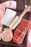 Towels and soap Royalty Free Stock Images