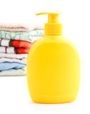 Towels and Soap Dispenser Stock Photography