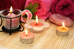 Towels, soap, flower, candles Royalty Free Stock Images
