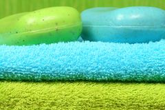 Towels and soap in spa Royalty Free Stock Images