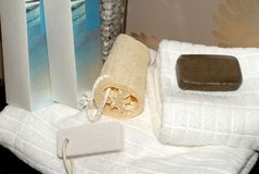 Towels, soap and sponges Stock Photography