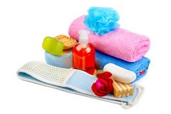 Towels, soap and sponges Royalty Free Stock Photos