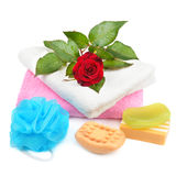 Towels, soap and sponges Stock Images