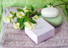 Towels, soap. Still life. colored towels, soap, perfume, shampoo and jasmine flower on a green background Stock Image