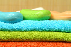 Towels and soaps Royalty Free Stock Photo