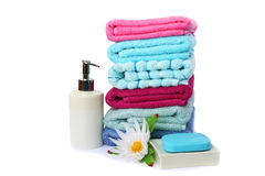 Towels and soaps Royalty Free Stock Photography