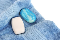Towels and soaps stock photo