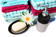 Towels and soaps Royalty Free Stock Photos