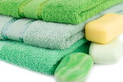 Towels and soaps. Colorful towels and soaps closeup picture Royalty Free Stock Photography
