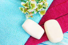 Towels and soaps royalty free stock images