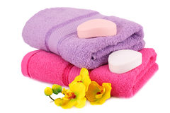 Towels and soaps Stock Photography