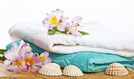 Towels in spa Stock Images