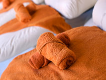 Towels in spa salon Stock Photo