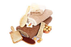 Towels and spa set Royalty Free Stock Photo