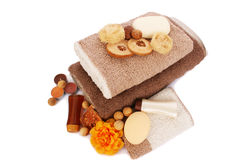 Towels and spa set Stock Image